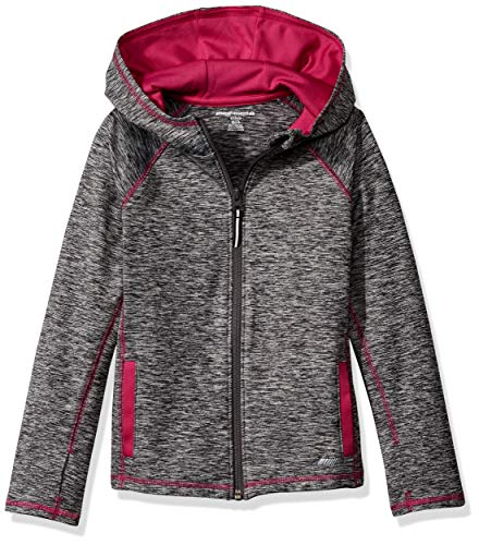 Amazon Essentials   Girls' Full-Zip Active Jacket, Grey Spacedye, XL (12)
