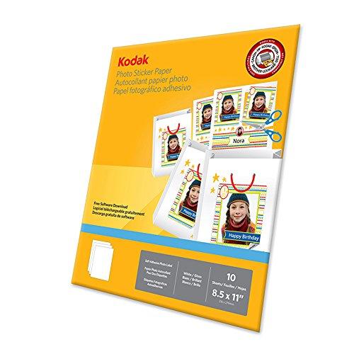 "KODAK Photo Sticker Paper, 8-1/2 x 11"" - White Glossy Adhesive Photo (Photo Sticker)"