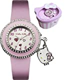 Hello Kitty watch - quartz movement with diamante face & charm - deluxe presentation gift tin.