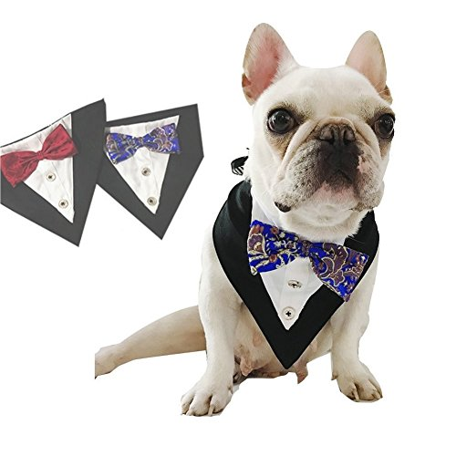 Stock Show Formal Small Medium Dogs Tuxedo Bandana Collar with Elegant Bowtie and Botton Adjustable Neckerchief for Wedding, Party, Costume, Gift and Birthday, Blue ()