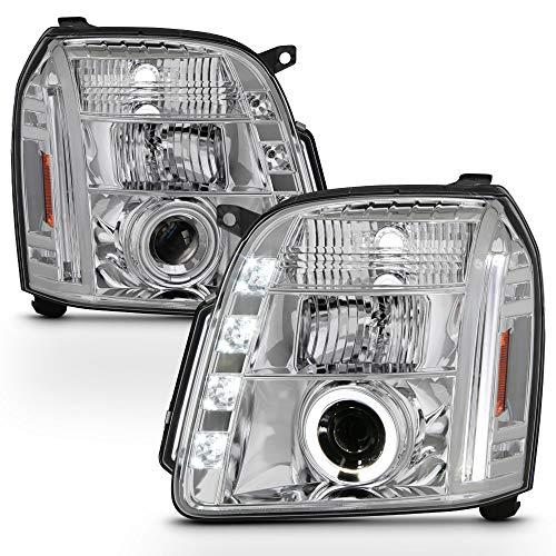 ACANII - For 2007-2013 GMC Yukon Denali XL SUV LED CCFL Chrome Housing Projector Headlights Headlamps,Driver & Passenger