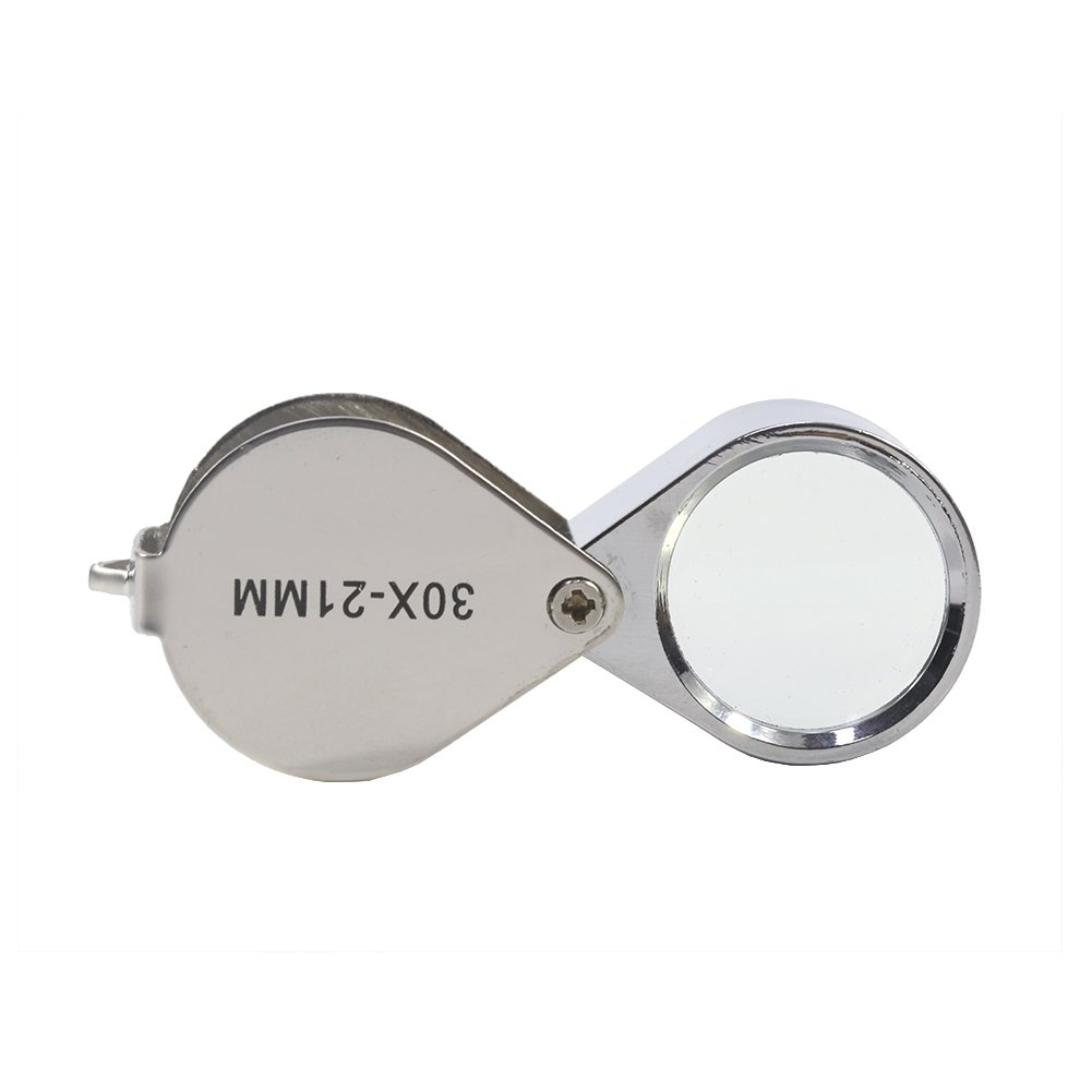 T-MEKA 30 x 21mm Jewellers Loupe, Folding Jewelry Magnifier Glass Jeweler Eye Jewelry Loupe Loop for Gems Jewelry Rocks Stamps Coins Watches Hobbies