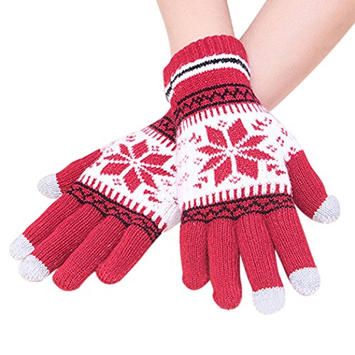 Veenajo Women Lady Winter Warm Soft Knitted Wool Snowflake Snow Gloves Xmas - Springs Shopping Outlets Palm