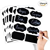 80 Reusable Chalkboard Labels, 10 Sheet Blackboard Stickers for Jars + Erasable White Chalk Marker. The Large and Reusable Spice Labels + Liquid Chalk Pen to Decorate Your Pantry Storage & Offic