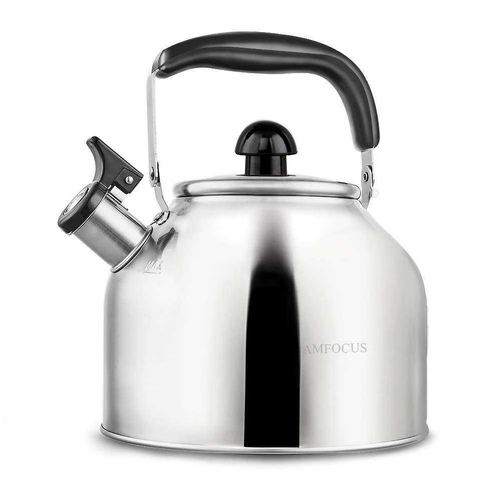 Tea Kettle Whistling Teapot for Stove Top Stainless Teakettle - Thin Base - Fast Boil - 3.7L/4Qt AMFOCUS 289833