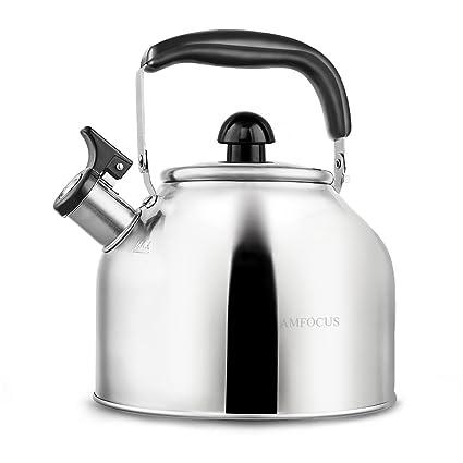 Tetera de acero inoxidable para estufa, base fina, de secado rápido, 3,