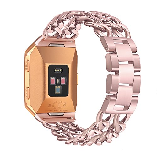 For Fitbit Ionic Bands, bayite Replacement Stainless Steel Metal Chain Bands Adjustable Folding Clasp for Fitbit Ionic Rose Pink (Cowboys Mens Sport Watch)