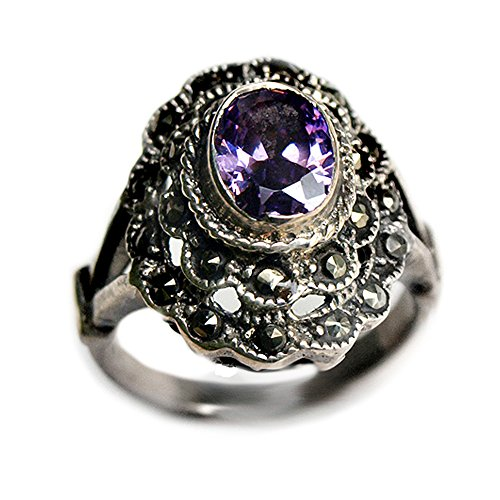Amethyst Marcasite 925 Silver Ring - 9