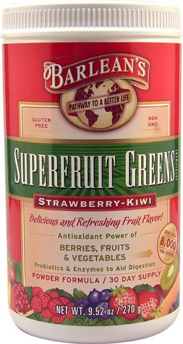 Barlean's Superfruit Greens Powder Formula Strawberry Kiwi -- 9.52 oz - 3PC by Barlean's Organic Oils