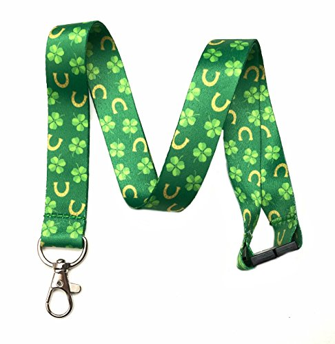 Break Away Shamrocks & Horseshoes Lanyard Key Chain Id Badge ()