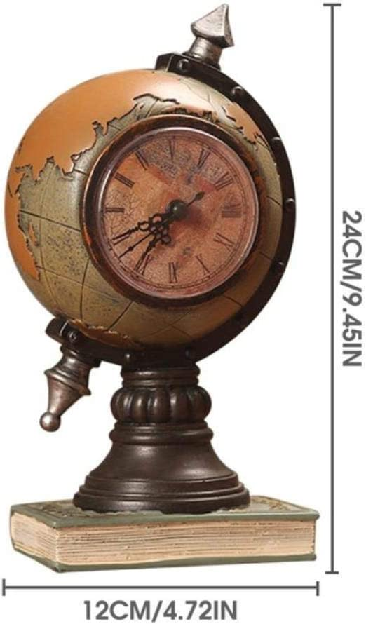 THREESS Vintage World Globe Reloj de Mesa Vintage Decoración ...