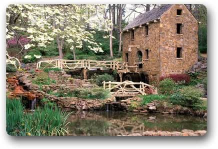Mill In The Forest Background Doormat/Gate Pad for outdoor,indoor,bathroom use!23.6inch(L) x 15.7inch(W)