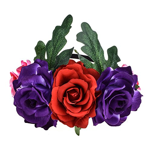 DreamLily Day of The Dead Headband Costume Rose Flower Crown Mexican Headpiece BC40 (Rose Purple Leaf) -