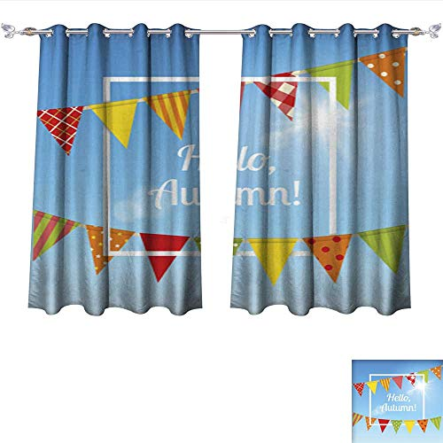 Waterproof Window Curtain Holiday Background with Bunting Flags Tie Up Window Drapes Living Room W55 x ()
