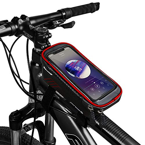 COPOZZ Sport Bicycle Bike Handlebar Bag, Waterproof Bike Front Frame Top Tube Cycling Storage Bag with Touch Screen, Fits Cellphone Below 6.5 Inch (Red)