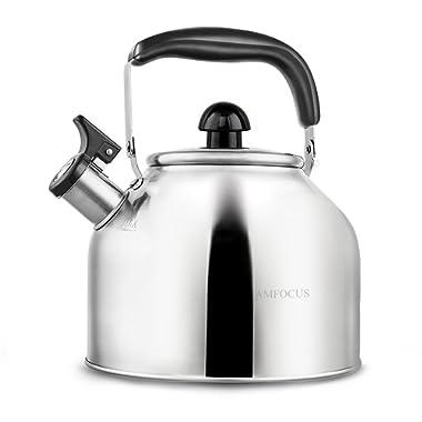 Tea Kettle Whistling Teapot for Stove Top Stainless Teakettle - Thin Base - Fast Boil - 2.8L