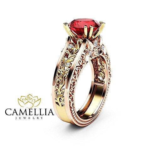 Unique Art Deco Engagement Ring Natural Ruby 14K 2 Tone Gold Ring Unique Gemstone Ring ()