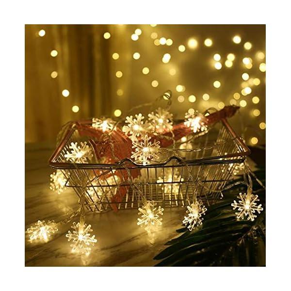 Catena Luminosa,Luci natalizie a forma di fiocco di neve,per Natale,giardino,terrazza,camera da letto,feste,interni ed esterni,luce bianca calda 1 spesavip