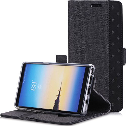 ProCase Galaxy Note 8 Wallet Case, Folio Folding Wallet Case Flip Cover Protective Case for Samsung Galaxy Note 8 2017 Release, with Card Holder Kickstand -Black