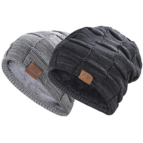 REDESS Beanie Hat for Men and Women Winter Warm Hats Knit Slouchy Thick Skull Cap(2 Packs Black&Dark Grey)