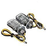 6 Feux clignotants a DEL - SODIAL (R)2 X 6 LED Noir Moto Mini Clignotants lumiere jaune