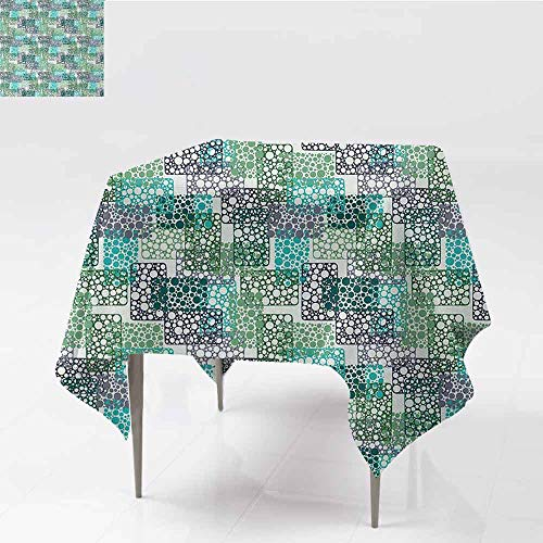 (DILITECK Decorative Textured Fabric Tablecloth Abstract Dots Bubbles Circular Rings in Colors Contemporary Style Easy to Clean W54 xL54 Pale Sea Green Turquoise Blue Grey)