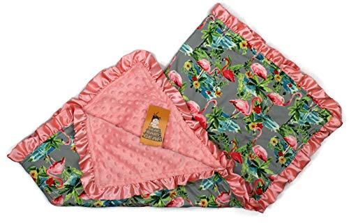 Dear Baby Gear Baby Blankets, Tropical Flamingos Hibicus, Coral Minky, 32 Inches by 32 Inches (Coral Flamingo)