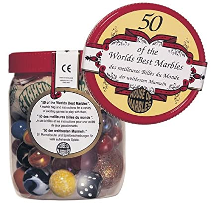 TUB OF 50 WORLDS BEST MARBLES BAG AND DIE GREAT GIFT RETRO