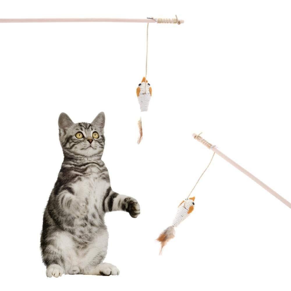 WUXXX Juguete para Gato de caña de Pescar Flexible Plumas ...