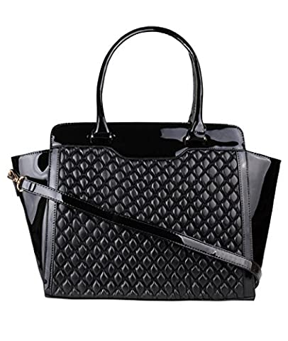 Large Quilted Patent Bag (4478-BLK-OS)