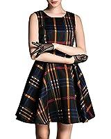 Purpura Erizo Womens Check Pattern Sleeveless Dress