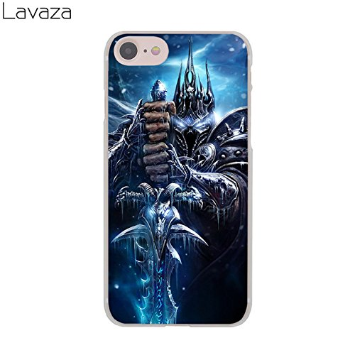 C.N. Black Blue World of Warcraft Theme iPhone 6 Case Wow The Lich King Pattern I Phone 6S Cover Battle for Azeroth Wrath of The Lich King MMO PVP Computer Game Prince Arthas, Hard Plastic