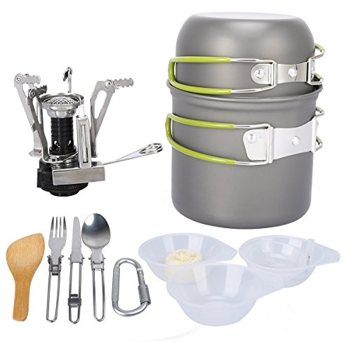 WindFire Camping Cookware Mess Kit Outdoor Hiking Backpacking 13 Piece Cookset Picnic Cooking Gear Stove Carabiner Canister Stand Tripod Folding Spork Knife Spoon Bowls Pot Pan Set with Mesh Bag Cooki by WindFire