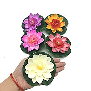 HUELE 5PCS/Set Floating Artificial Lotus Flowers Decor Floating Pond Decor Water Lily Home Decoration 11