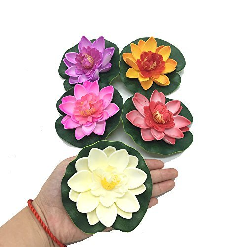 (Pomeat 5 Pcs Floating Artificial Lotus Flowers Decor Floating Pond Decor Water Lily Home Decoration)
