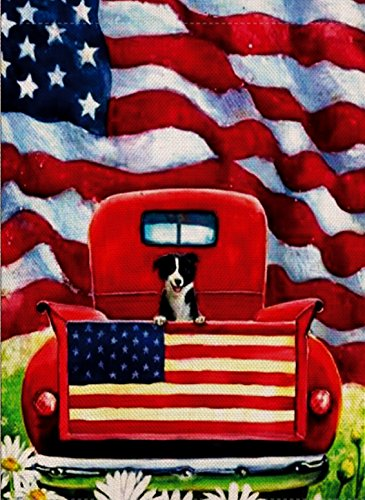 Dyrenson Home Garden Yard Decorative 4th of July Dog Flowers House Flag Large Double Sided Burlap, Rustic Farm Old Red Truck Daisy 28 x 40 Flag, American Holiday USA Seasonal Outdoor Décor