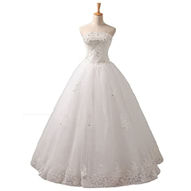 yipeisha womens wedding dress for bridal ball gown strapless long bridal gowns us 2 white