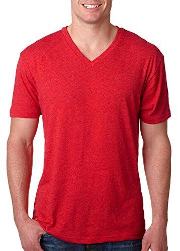 Next Level Men's Tri-Blend Ribbed Knit V-Neck T-Shirt, Vintage Red, X-Large (Sale Vintage T-shirt)