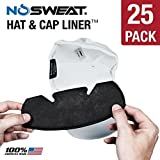 No Sweat Baseball Hat & Helmet Liner/Sweat Absorber - Prevent Sweat Stains (Softball) (25 Pack)