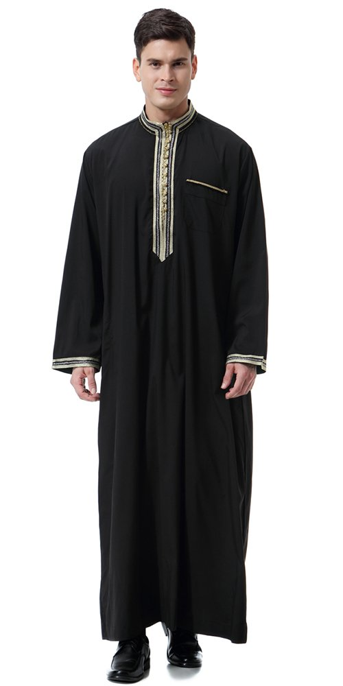 Ababalaya Men's Stand Neck Applique Long Sleeve Saudi Arab Thobe Islamic Muslim Dubai Robe,Black,L Fits US 36