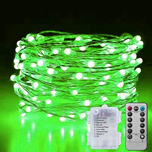 Zhuohao Green 100Led 33.5FT Fairy Lights, Battery Powered 8 Flashing Modes String Lights with Remote Control and Timer for Christmas, Party, Wedding, Festival Decoration