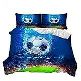 Suncloris,Total Soccer,3PC Football Bedding Sheet Set .Included:1Duvet Cover,2Pillowcase(No Comforter Inside) (Twin)