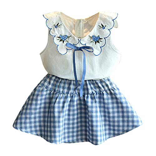 SIN vimklo Toddler Baby Girls Sleeveless Doll Collar Embroidered Floral Vest Tops+Plaid Print Skirts Set Blue ()