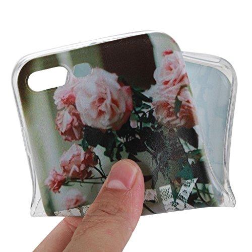 iPhone 7 Plus Cover , YIGA Moda Trasparente Rosa Cinese Fiore Silicone Morbido TPU Case Custodia per Apple iPhone 7 Plus 5.5