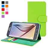 Galaxy S6 Case, Snugg™ - Leather Wallet Case with Lifetime Guarantee (Green) for Samsung Galaxy S6