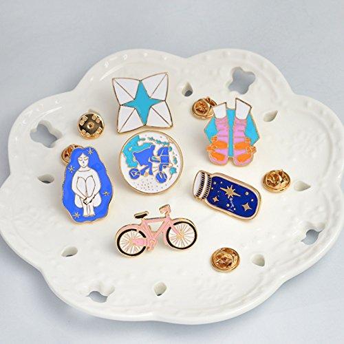 Bike Brooch Pin (6pcs/Set Bike Wishing Bottle Riding Girl Shoes Origami Game Shoes Brooch Pins Button Pin Denim Jacket Pin Badge Gift Jewelry)