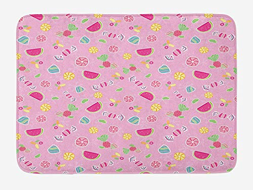 Sweet Bath Mat, Candies Yummy Treats Watermelon Creative Delicious Tastes Kids Design, Plush Bathroom Decor Mat with Non Slip Backing, 23.6 W X 15.7 W Inches, Pale Pink Magenta Mint]()