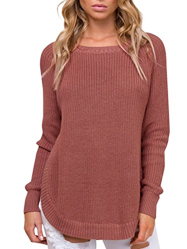 BerryGo Women's Casual Long Sleeve Side Split Knit Pullover Sweater Jumper (Brick Red,One Size) ()
