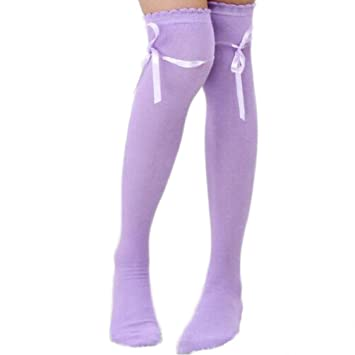 01a25ff755f Amazon.com  Ikevan Women Girls Thigh High Over The Knee Socks Pure Color  Warm Soft Silk Lace Butterfly Knot cotton Stockings Autumn Winter (Purple)   Musical ...