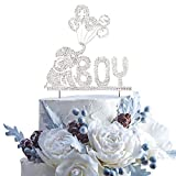 It's a Boy Elephant Baby Rhinestone Silver Metal Rhinestone Cake Topper Party Decoration For Wild Kids Children Baby Shower Birthday Party.